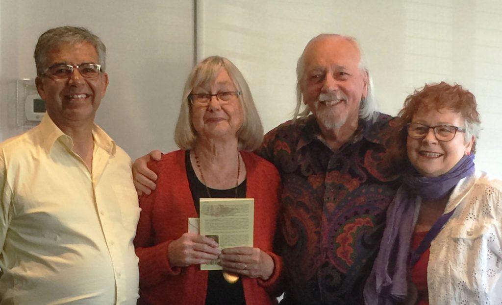 (l - r) Co-host James Felton, Eileen Kernaghan, Henry Beissel, and Co-Host Franci Louann