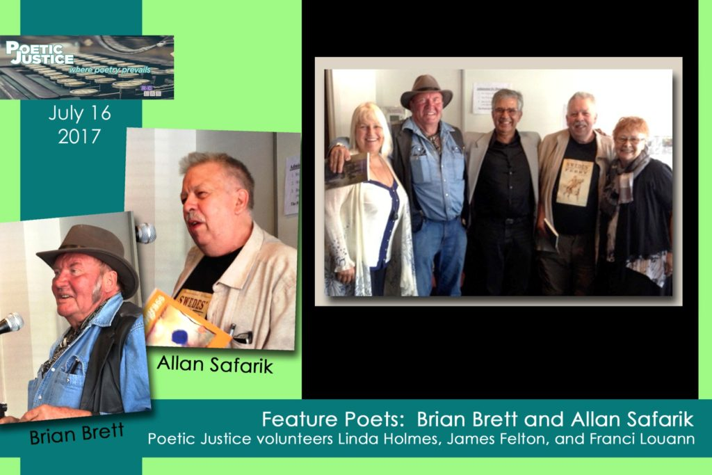 Brian Brett and Allan Safarik, featured poets at Poetic Justice July 2017 poety reading
