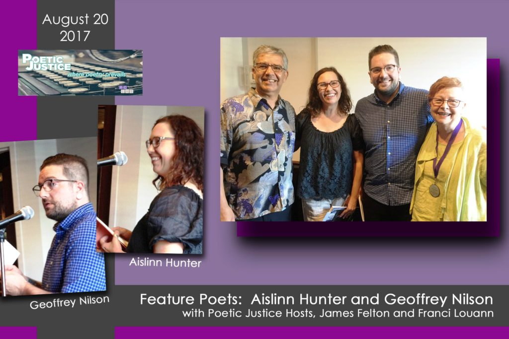Featured Poets Aislinn Hunter and Geoffrey Nilson at the August poetry reading for Poetic Justice.