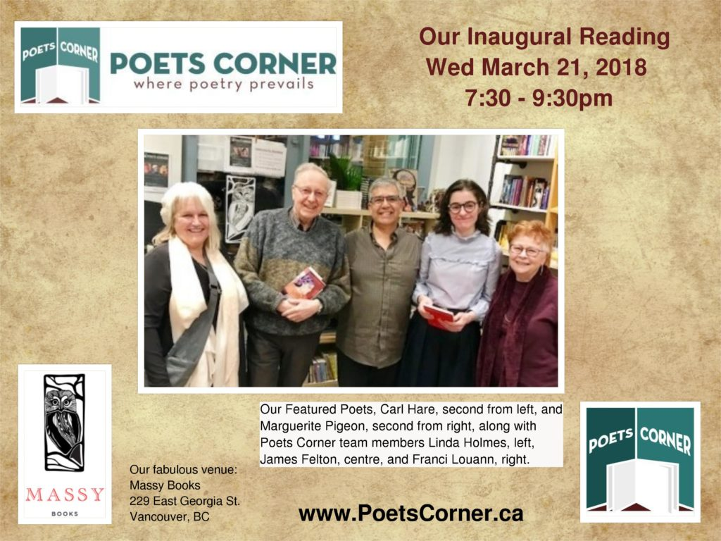 Photo of Featured Poets and Poets Corner members at our inaugural reading