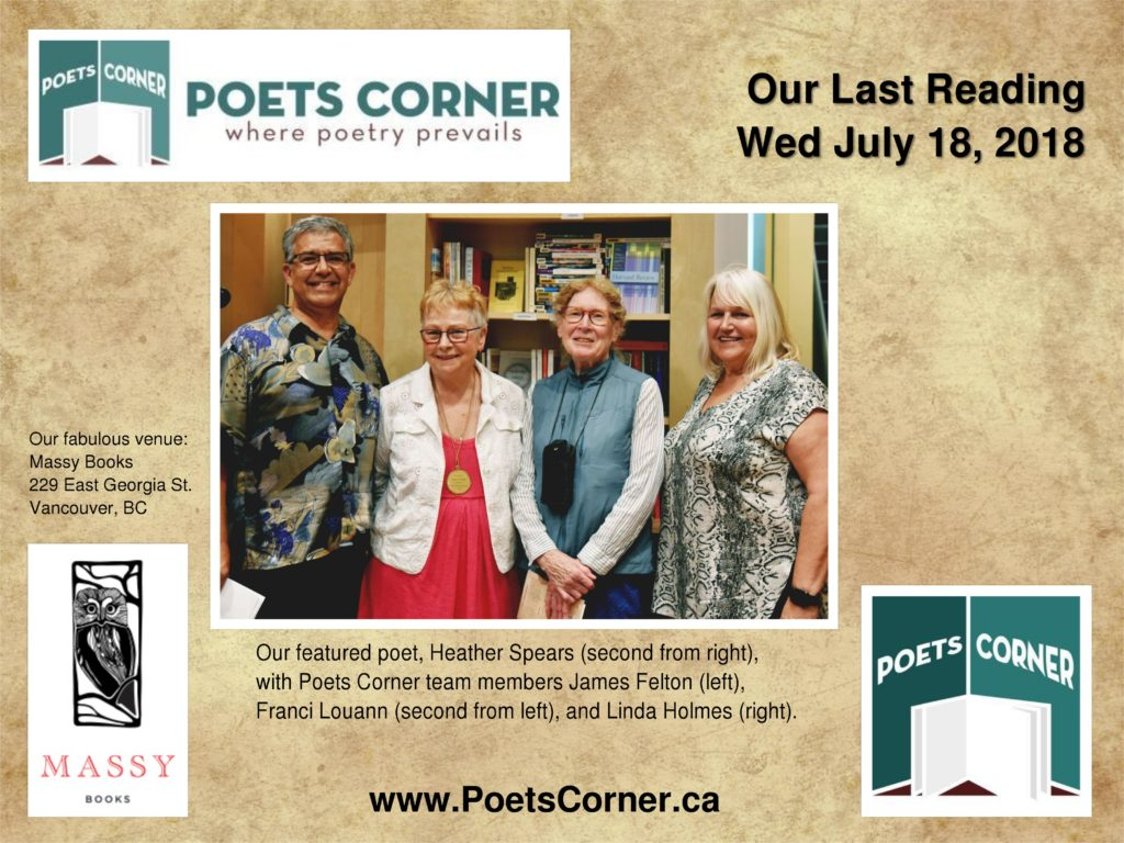Photo of Heather Spears who read at Poets Corner in July, 2018
