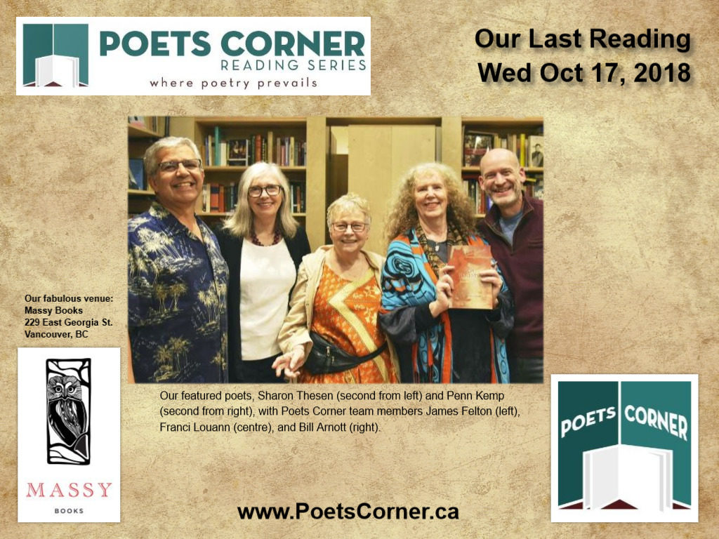 Collage of Kemp & Thesen Reading at Poets Corner
