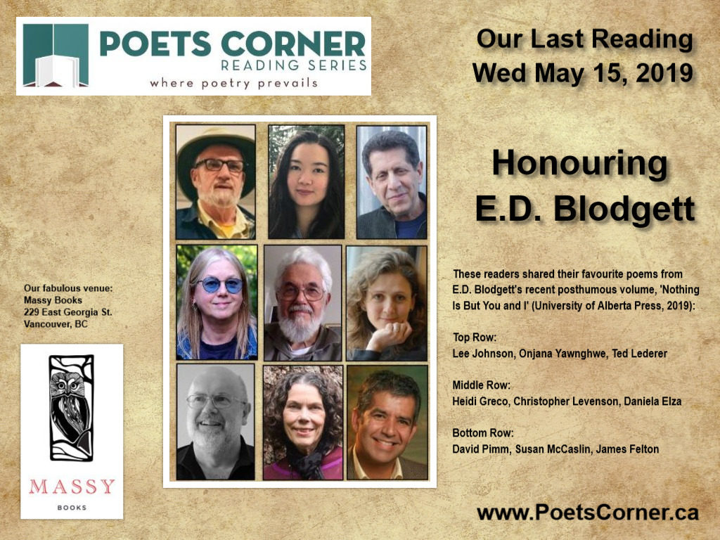 collage of nine readers who honoured e.d. blodgett at Poets Corner