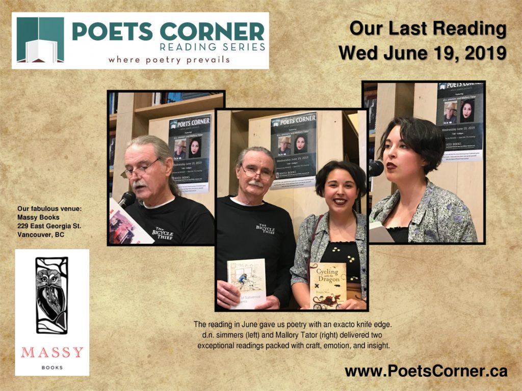 collage of d.n. simmers and mallory tater poetry reading