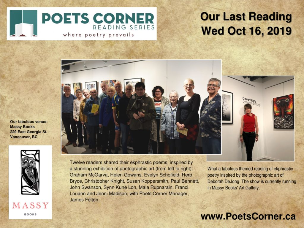 photo of participants at Poets Corner Ekphrastic Poetry reading on Wed Oct 16.