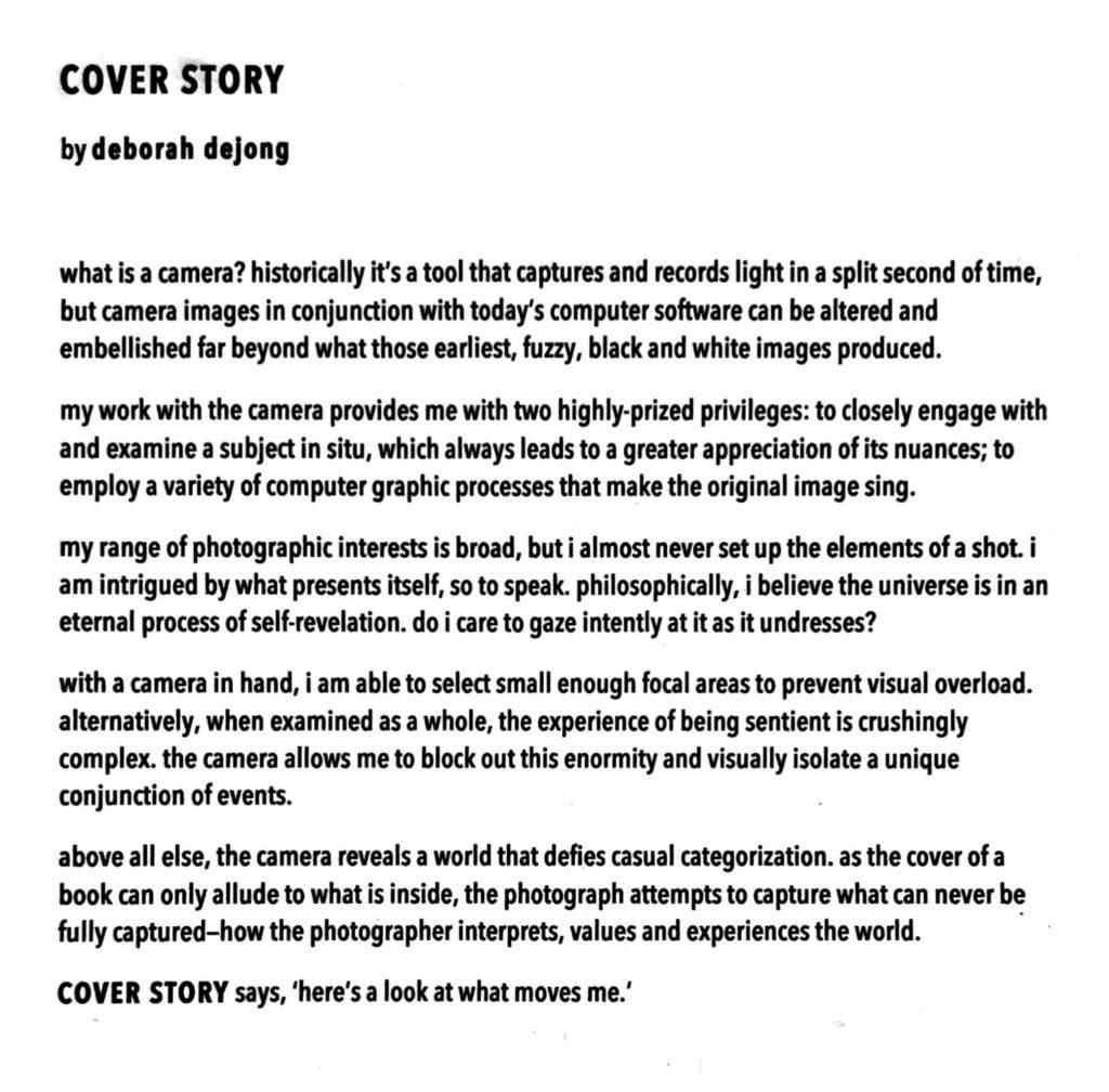 deborah dejong's artist statement